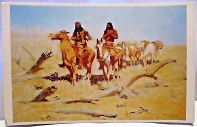1967 Artist Signed Frederic Remington Postcard The Discovery Of Skulls, Indians