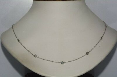 $3,850 1.10Ct Natural Round Cut Diamond By The Yard Necklace 14K White Gold