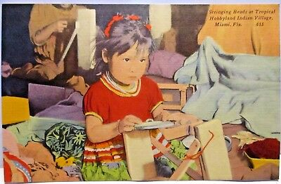 1940s POSTCARD STRINGING BEADS,TROPICAL HOBBYLAND INDIAN VILLAGE MIAMI FL,INDIAN