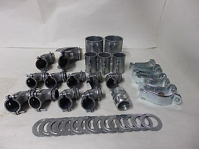 EMT Lot of 37: fittings coupling straight reducing washers squeeze clamp A6