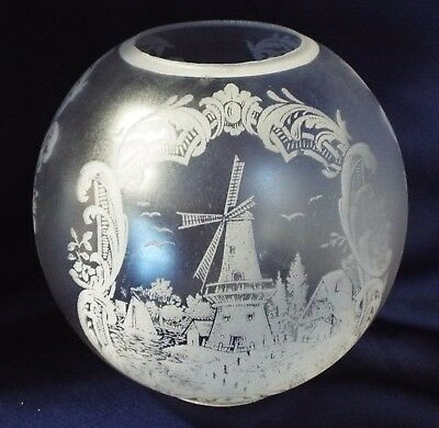 """Antique FROSTED & ETCHED Glass WINDMILL SAILBOAT Village BALL SHADE 4"""" Fitter"""