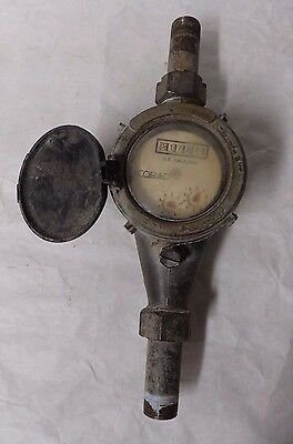 """Vintage Corad Water Meter US Gallons Plus Counter Marked Israel 5/8"""" x 3/4"""" (A6)"""