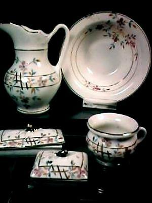 Child / Doll Toy China Pitcher & Bowl Wash Set R.S. Prussia Orig Box