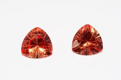 7.16Ct Pair Of Trillion Cut Orange Citrine Loose Gemstones