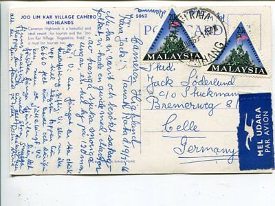 Malaysia air mail post card to Germany 1966