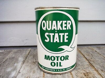 Vintage 1 Quart Quaker State Motor Oil Can Empty Metal Neat Nr! Man Cave!