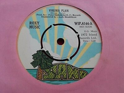 "Roxy Music - Rare Irish Early Press 7"" - Virginia Plain - 1972"