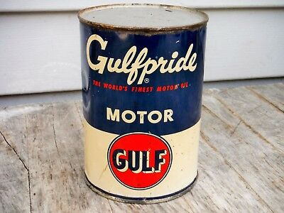Vintage 1 Quart Gulf Oil Co. Gulfpride Motor Oil Can Full Nice Nr! Man Cave
