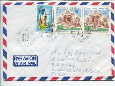 Ivory Coast air mail cover to Sweden 1993