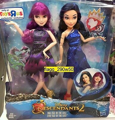 *Disney Descendants 2* MAL & EVIE ISLE OF THE LOST DOLLS EXCLUSIVE 2 PACK SET
