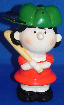 Lucy Baseball Ceramic Coin Bank Peanuts/Snoopy 1989 Determined Japan