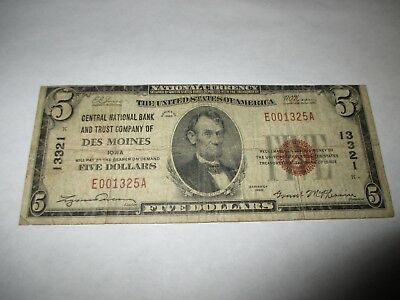 $5 1929 Des Moines Iowa IA National Currency Bank Note Bill! Ch. #13321 RARE!