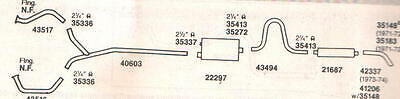 1971-1974 Cadillac Eldorado Exhaust System, Aluminized With Resonator