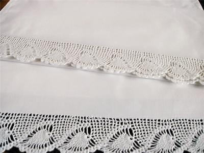 Gorgeous Smooth & Heavy Antique Pillowcases With Deep Crochet Opening Edge