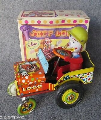 LITHO TIN JOUNCING JEEP RARE VARIANT, CLOWN!!! NMIB, ARGENTINA,WORKS, Very Good