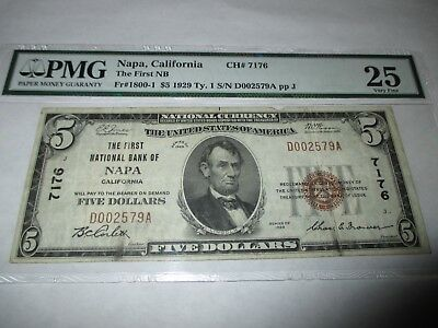 $5 1929 Napa California CA National Currency Bank Note Bill Ch. #7176 VF 25 PMG!