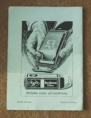 Vintage original Agfa Rondinax Daylight developing tank instructions Photography