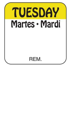 """Roll of 1000 TUESDAY 1"""" x 1"""" SQUARE Removable Trilingual Food Rotation Labels"""