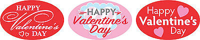"1.25"" x 2"" HAPPY VALENTINES DAY 3 LOOKS ON RL LABELS 500 PER ROLL GREAT STICKERS"