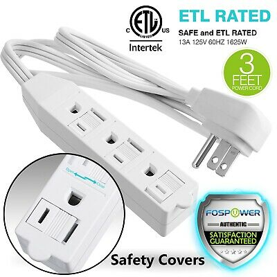 FosPower [ETL Listed] 3 Outlet Wall Tap Power Strip Adapter Extension 3FT Cord