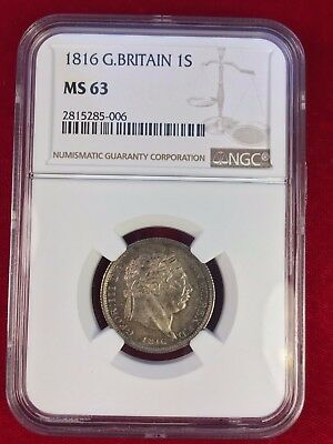 1816 Shilling, Slabbed By Ngc Ms 63