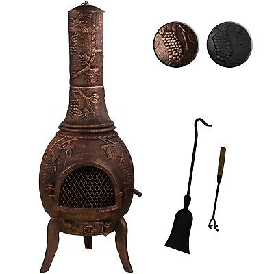 XXL Terrace Oven Solid Cast Iron Bronze Garden Fireplace Stove Hearth