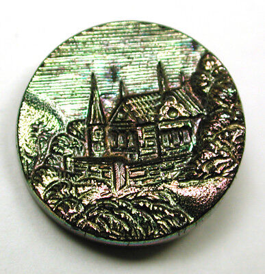 Antique Black Glass Button Detailed Gothic Cottage w/ Carnival Luster 11/16""