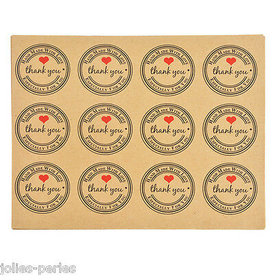 """10Sheets """"thank you"""" Heart Sticker Self Adhesive Label Gift Decor Kraft Paper"""