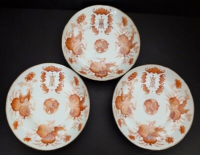 "3 Antique Chinese 9.25"" Shallow Bowls Hand Painted Bats Symbols Peaches - Signed"