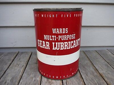 Vintage 5 Lb Montgomery Wards Multi-Purpose Grease Lubricant Oil Can Nr!