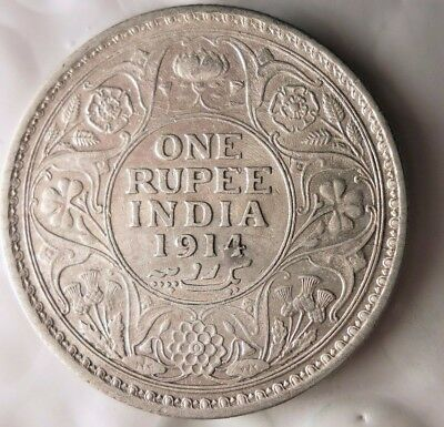 1914 BRITSH INDIA RUPEE - RARE - Excellent Silver Coin - Lot #117