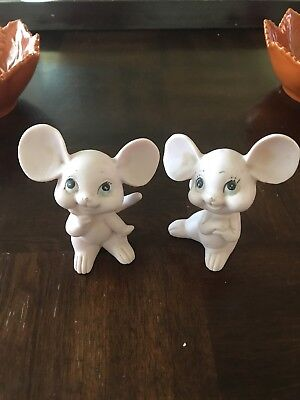 "VINTAGE PAIR of Pink Porcelain Mice, Kelvin's Japan, 4"" Tall,"