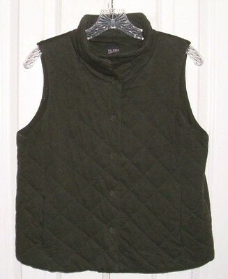 Eileen Fisher Women's Vest 100% Cotton Dark Green Petite Sz Medium Pm