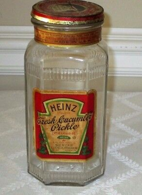 "1930's Heinz-Cucumber Pickle Glass Jar-W Org Label & Tin Lid-7.5""-Bottle-Sign"