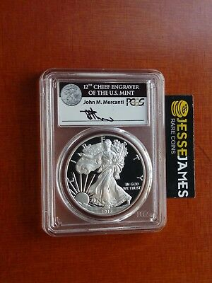 2017 S Proof Silver Eagle Pcgs Pr70 Dcam Mercanti First Day Of Issue Black Label