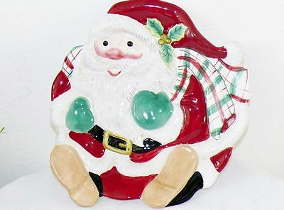 """Vintage Fitz & Floyd Christmas Santa Canape Plate Cookies Candy Tray 10"""" Hangs"""