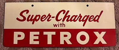 Vintage Texaco Oil Co Supercharged With Petrox Painted Tin Service Station Sign
