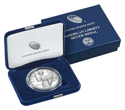 2016 S American Liberty Proof Silver Medal 1 Troy Ounce W/ Box/coa Uh10