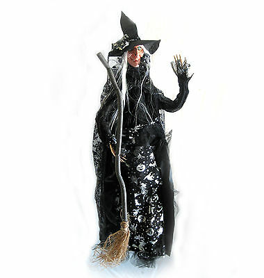 "56"" Cute Witch with Broom Hanging Haunted House Halloween Party Prop"