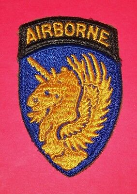 ORIGINAL CUT-EDGE WW2 13th AIRBORNE DIVISION BLUE BORDER PATCH, ATTACHED TAB