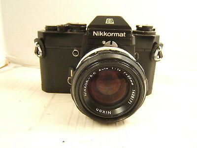 Nikon Nikkormat El Film Camera With Nikkor Sc Auto F=1.4 50Mm Lens