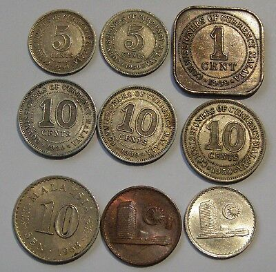 Malaysia Constitutional Monarchy Coins Dated from 1939 + ( 9 coins )