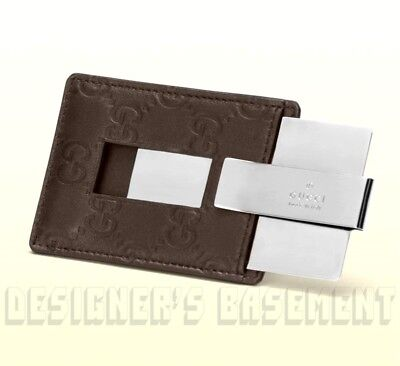 GUCCI chocolate brown GUCCISSIMA leather metal MONEY CLIP holder NIB Authen $250
