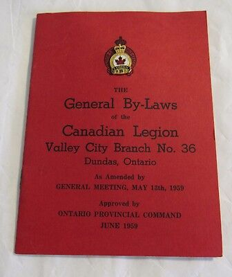 1959 Canadian Legion By-Laws Valley City Branch 36 Dundas Ontario w Pin NICE
