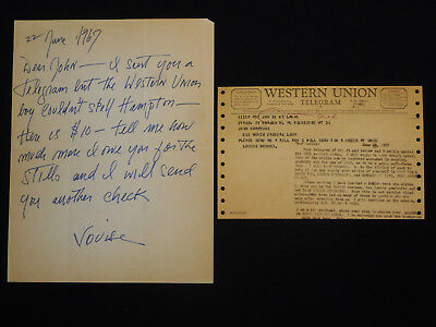 Louise Brooks - Autograph Hand Written & Signed Letter + Western Union Telegram!