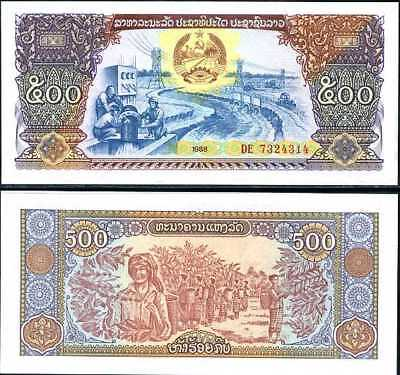 Lao Laos 500 Kip 1988 P 31 Unc Lot 100 Pcs 1 Bundle Nr