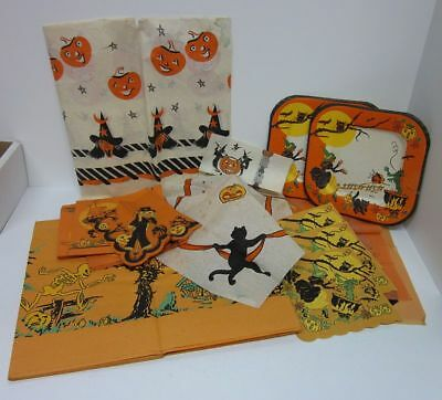 BIG Mixed Lot (25) Vintage Halloween Party Napkins Plates Tablecloths bv1932