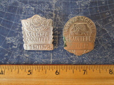 Lot 2 1940s IL Illinois Licensed Chauffeur Medal Badges Transportation hj3318