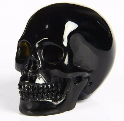 "2.0"" BLACK OBSIDIAN Carved Crystal Skull, Realistic, Crystal Healing"