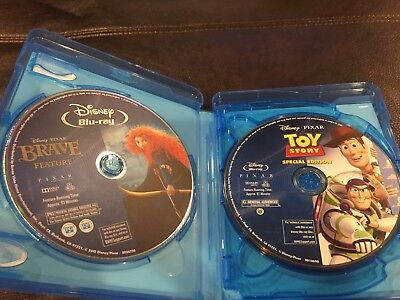 4 Disney Bluray only Lot in 4 Disc Case: Brave, Toy Story, Avengers More